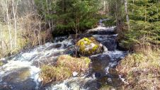 der Bach auf meinem Grundstück der in den See Storsjön fliesst